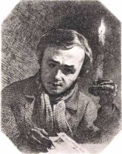 T.Shevchenko. Self-portrait with a candle, 1845 .